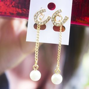 Jewelry - C Stud Pearl Dangle Earrings