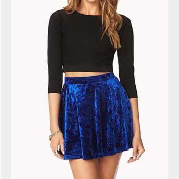 Forever 21 Skirts - Crushed Blue Velvet Skater Skirt