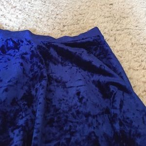 Forever 21 Skirts - Crushed Blue Velvet Skater Skirt