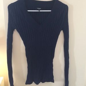 Express Navy Ribbed Sweater