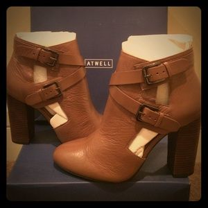 Maggie Cut-Out Brown Leather Buckle Bootie