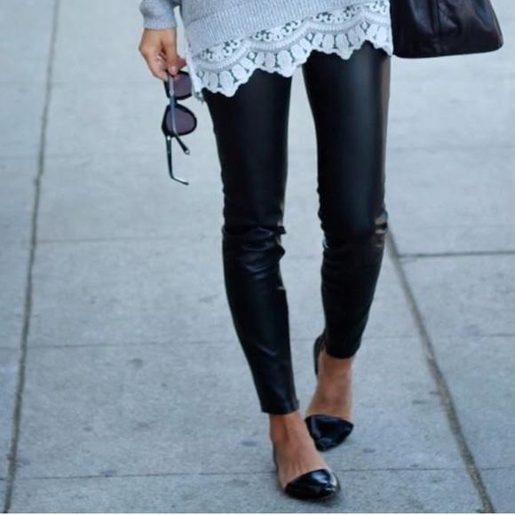 794638147ba5fe H&M Pants | Hm Black Faux Vegan Leather Leggings | Poshmark