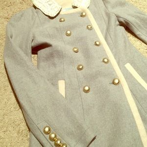 Outerwear - Women's gray and cream boutique coat.