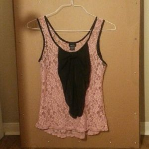 Pink laced tank top with black bow