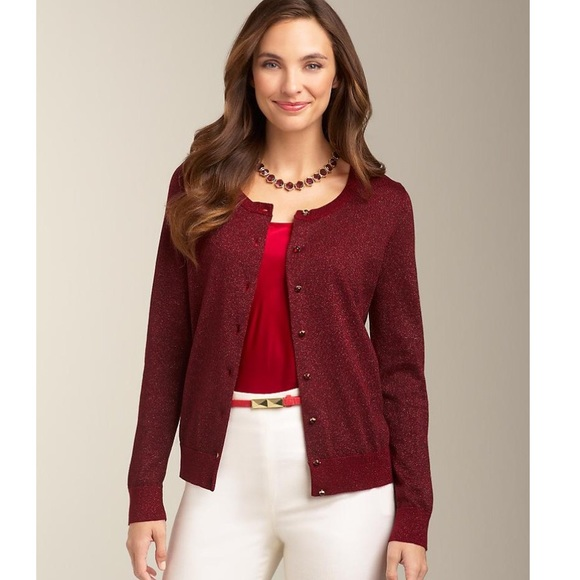 83% off Talbots Sweaters - TALBOTS Wine Red Charming Sparkle ...