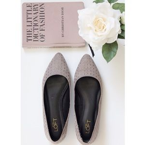 LOFT Shoes - LOFT Pointed Toe Grey Studded Flats