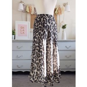 Grey & Black Cheetah Maxi Skirt