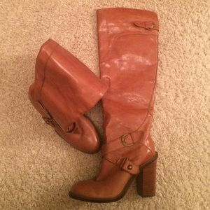 Knee high real leather boots
