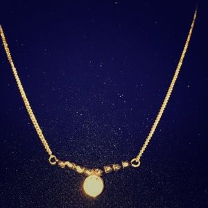 Jewelry - Gold tone chain w gold toned beads and aCtr bling