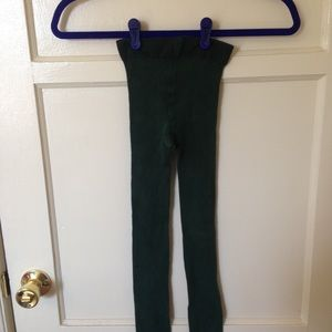 Ribbed dark green tights from H&M