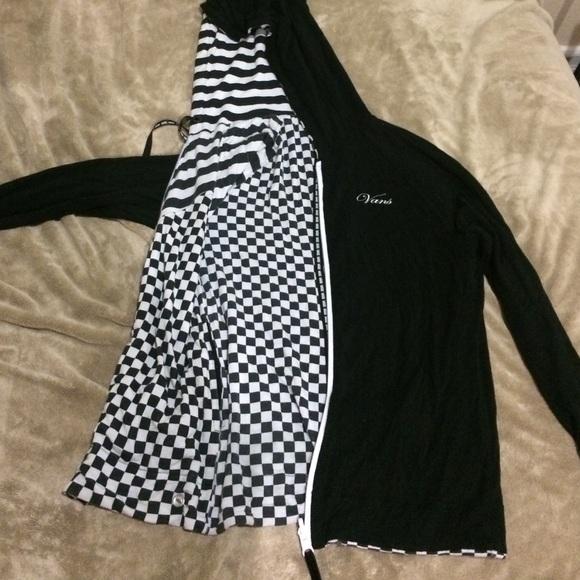 vans black and checkered hoodie