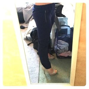 Navy blue Merona ankle pants with side zippers.
