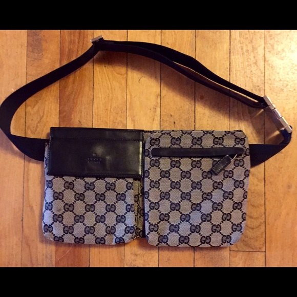 8397c2de2d28a4 Gucci Bags | Black Canvas Monogram Belt Bag Fanny Pack | Poshmark