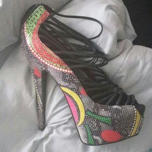 Strappy Peep toe heels