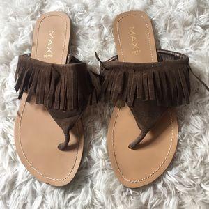 Brown suede fringe sandals