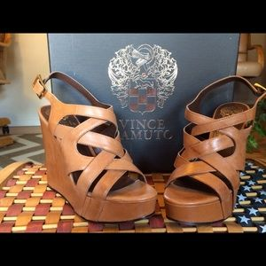 Never worn natural leather wedge platform shoes.