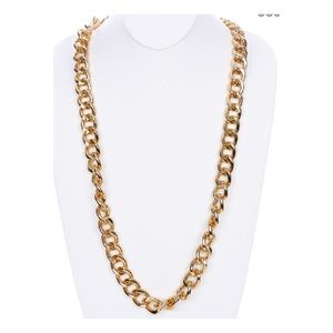 Long chunky gold tone chain link necklace