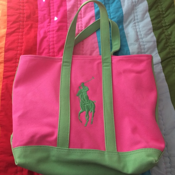 Polo by Ralph Lauren Bags   Pink And Green Polo Ralph Lauren Big ... 4393785e6b