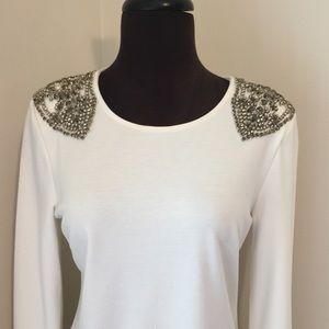 Gorgeous beaded shoulder top