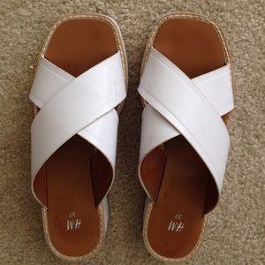 H&M white slide wedge sandals size 7 or EUR 37