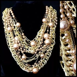 Boutique Jewelry - TS Champagne Chunky Pearl Statement Necklace