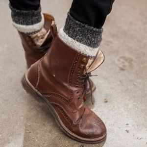 Brown brogue boots
