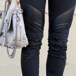 Blank Denim Denim - Black Skinny Jeans w/ Faux Leather Panels