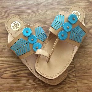 1adfdbe38f0923 Tory Burch Shoes - Tory Burch Turquoise Blue Caylan Leather Sandals