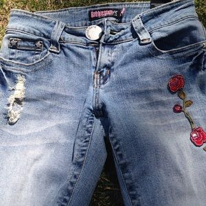 Bubble Gum Jeans - Hippie Chic jeans with flower patches