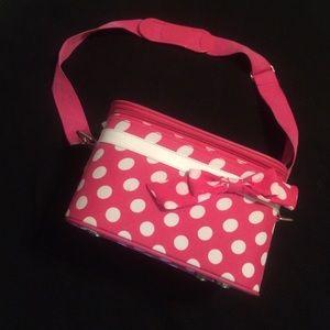 Handbags - Pink & white polka dot travel case