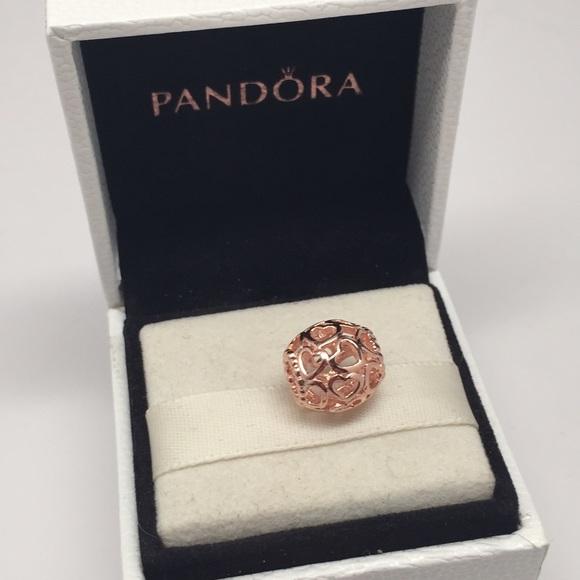 off Pandora Jewelry Pandora open your heart rose gold charm