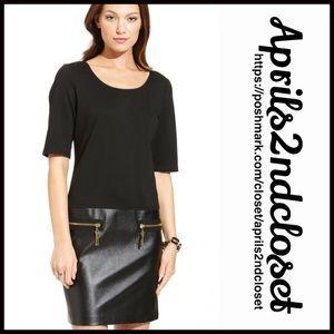 MSK Dresses & Skirts - ❗️1-HOUR SALE❗️Black Dress Faux Leather Shift