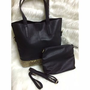 Black Tote Bag with Gold Detailing.