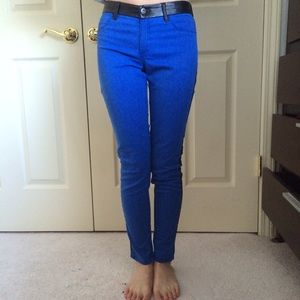 Urban Outfitters Pants - Blue Skinny Pants with Leather Detail