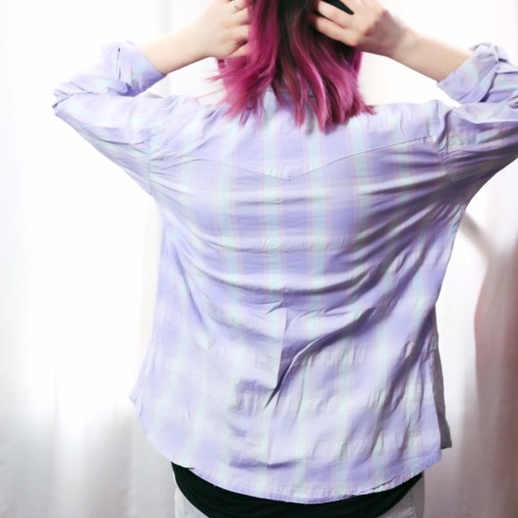Wrangler Tops - HALF OFF SALE | Lavender Plaid Pearl Snap Top