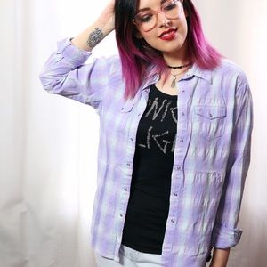 HALF OFF SALE | Lavender Plaid Pearl Snap Top