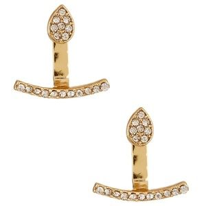 NEW 14th & Union Curve Bar Pave Jacket Earrings