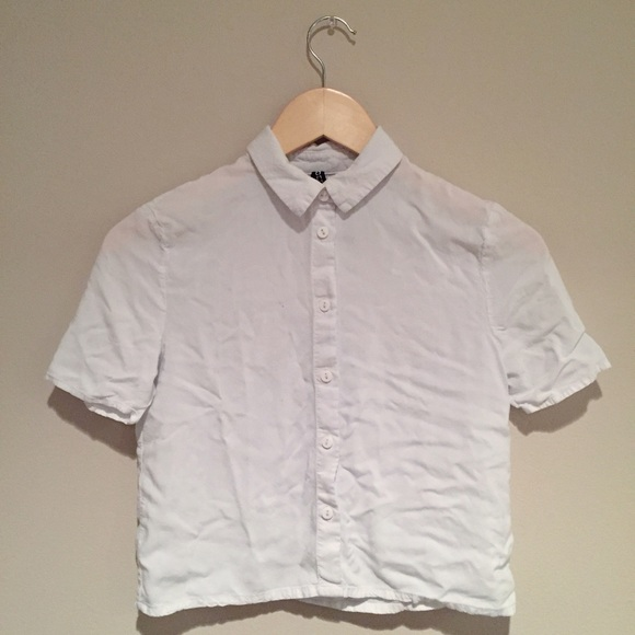 65 off h m tops off white collared button down crop top for Cropped white collared shirt