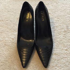 Ralph Lauren Black Croc Pointed Pumps Size 10B