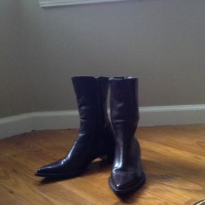 Western style leather short boots