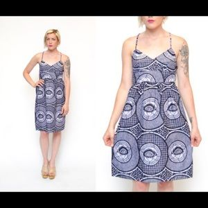 90s vintage eye print summer sun dress