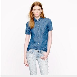 J. Crew Tops - JCrew short sleeved denim button down.