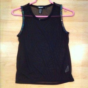DKNY black sheer top