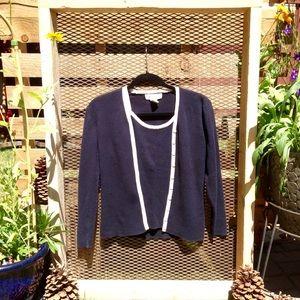 Cardigan twin set. Navy blue and tan. 100% cotton.