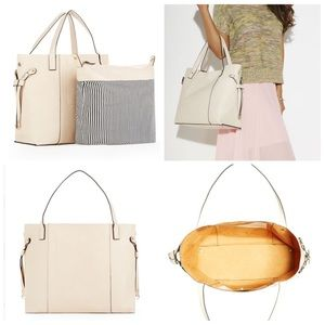 JustFab Handbags - Nude Faux Leather Tote Bag