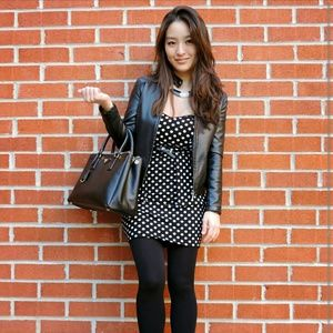 Dresses & Skirts - Strapless polka dot peplum dress