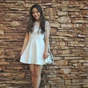 Dresses & Skirts - White skater dress with lace top!