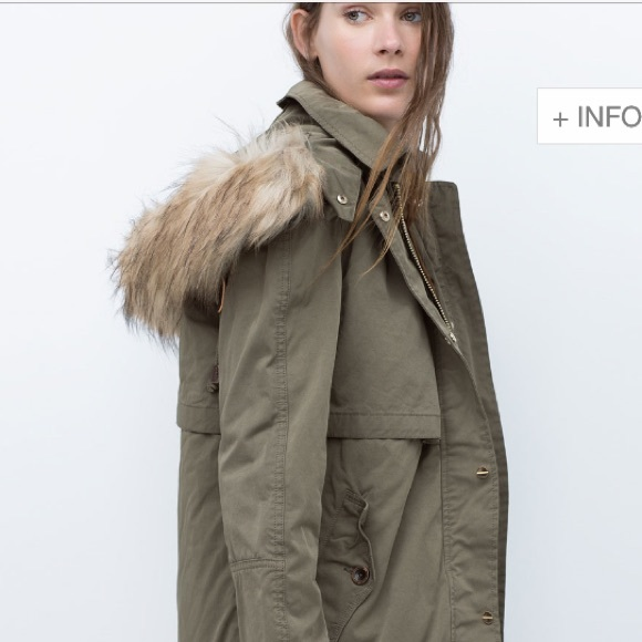 57% off Zara Jackets & Blazers - Zara parka with faux fur hood ...