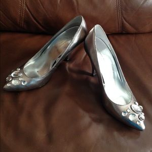 Sigerson Morrison Silver Heels with Gems