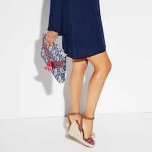 JustFab Clutches & Wallets - Navy Aztec Tribal Oversized Clutch